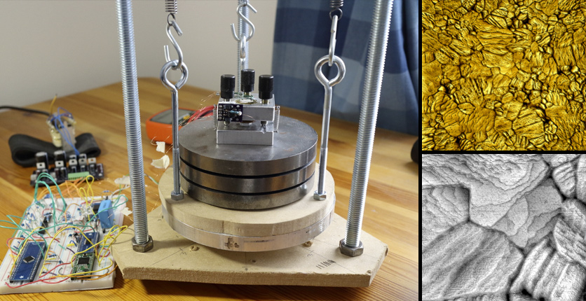 DIY home built scanning tunneling microscope microscope. Showing scans of gold on the right. Photos from Dan Berard