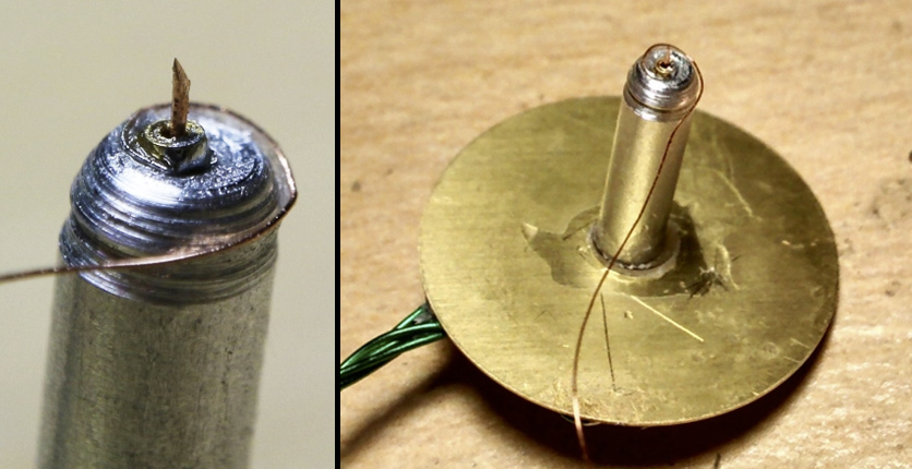 Piezoelectric buzzer and tungsten needle assembly. The needle was pulled while being cut to achieve a sharp point the size of an atom.