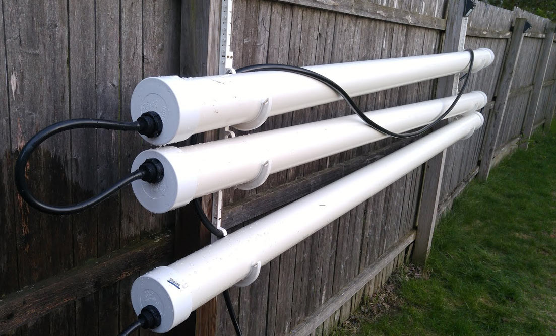 The design makes use of gravity by mounting the pipes on a slant-allowing the nutrient-rich water to naturally flow through each pipe and feed the roots of the plants as it's pumped through.