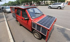 DIY Solar Powered Red Car Spotted in China