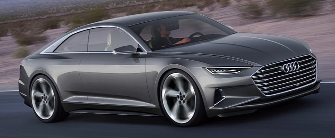 Audi A-9 e-tron Tesla Rival Side View in Motion