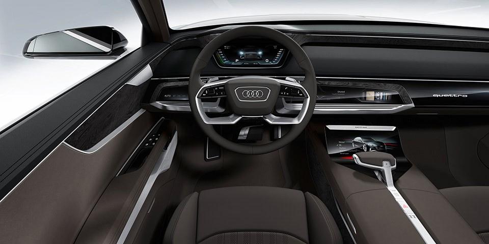 Audi A-9 e-tron Tesla Rival Interior Cockpit View