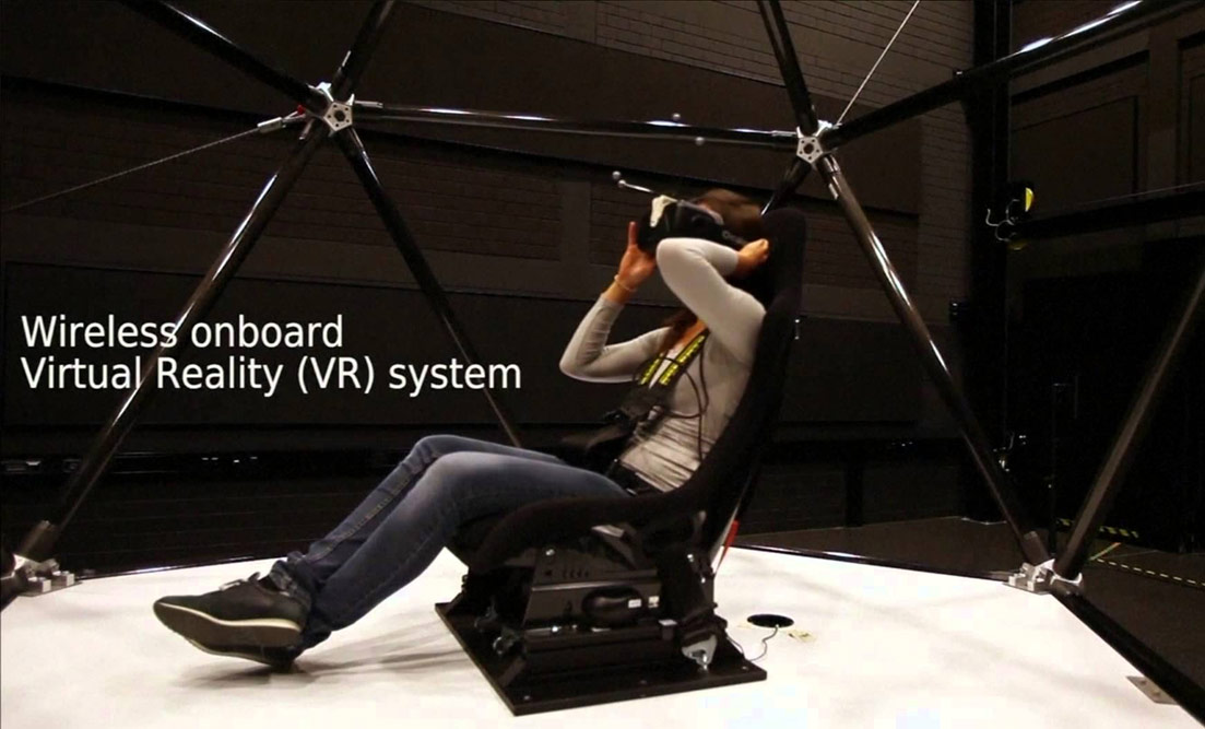 cable winch virtual reality motion simulator, greatest VR flight simulator rig of all time